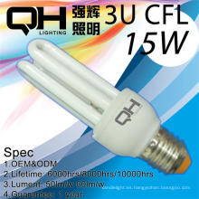 CFL 3U luz 15w 9mm T3 8000 hrs uso Span en interiores
