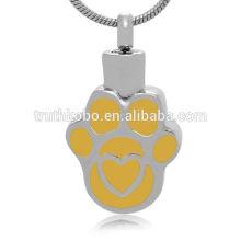 Yellow Enamel Pet Dog Jewelry Necklace Pendant Hold Ashes