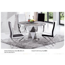 Chinese Round Dining Table with Marble/Glass (T075)