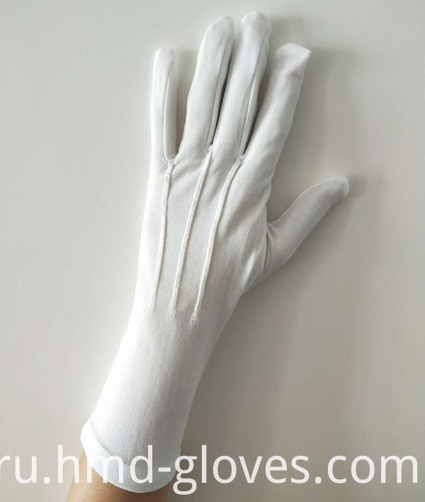 Military Parade White Nylon Gloves Back