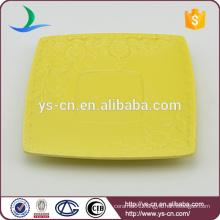 Color Glazed tea bag saucer with flower relief