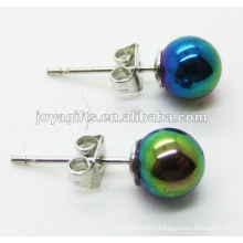 6MM Hematite Round Beads Stud Earring,Rainbow Color.