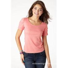 Bishop Short Sleeve Shirts , Breathable Pink Short Womens Shirts /  Blouses