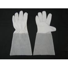 Guante de trabajo de soldadura TIG de manga larga Palm Palm de cuero caprino