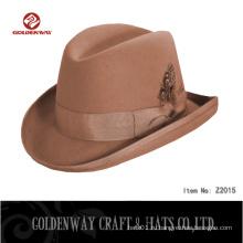 Прохладное мужское платье из коричневой шерсти Зимние шляпы Fedora для мужчин