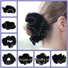 Fábrica de moda personalizada Mujeres Chica Señora Hair Band cosido diamantes de imitación brillo del pelo mujeres hairband Scrunchie
