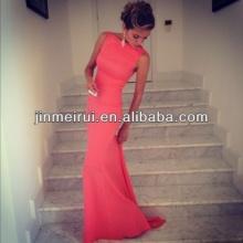 Frete Grátis Best Selling Satin Sheath Formfitting Alto Pescoço Coral Mermaid Evening Dress Long Wedding Event Dress