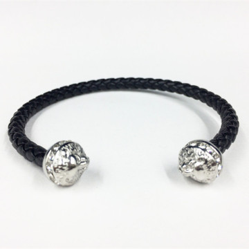 Mens Lion Head Black Läder Manschett Bangle Armband