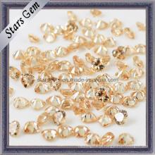 Coração cortado em Champagne CZ pedra solta Gemstone Beads