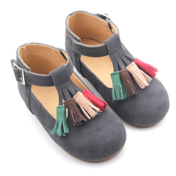 Wholesale Rubber Sole Leather Children Shoes