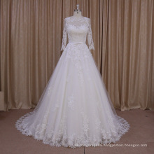 AK003 real photo high quality lace applique gowns design latest muslim wedding dress for bridal