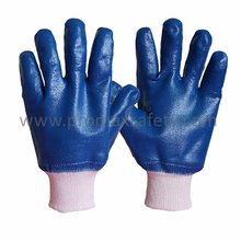 Jersey Liner Blue Nitrile Fully Coated Glove with Knit Wrist