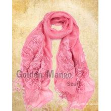 Fashion 100% foulards en broderie en lin