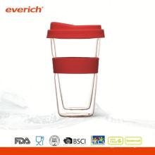 Tasse à café en verre à haute résistance à la bouche super large