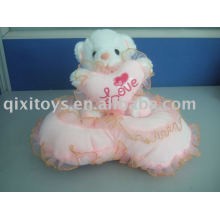 beige, valentien, peluche, teddybear, tenue, coeur
