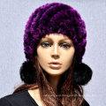Women Wool Real Rex Winter CC Beanie Knit Rabbit Fur Hat