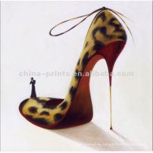 Pintura al óleo moderna de la lona de los altos talones del leopardo