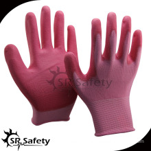 SRSAFETY 13 gauge knitted colorful samples pu gloves