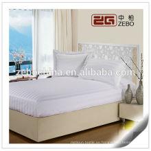 100% poliéster cabido estilo cama de la reina cubierta de colchón impermeable blanco
