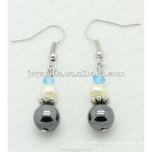 Fashion Hematite Round Beads Earring;hematite beads and silver color earring findings hematite earrings 2pcs/set