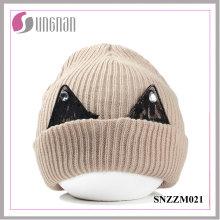 Hochwertige warme dicke Wollmütze Cute Lace Strass Ohr Strickmütze