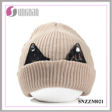 High Quality Warm Thick Wool Cap Cute Lace Rhinestone Ear Knit Hat