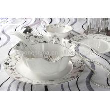 Оптовый навальный тонкий свет супер белый тиснение посуда посуда для ресторана Китай