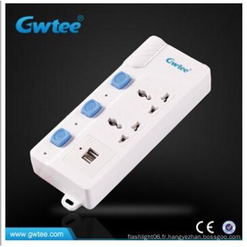 Prise de câble de rallonge pour PC avec prise USB Prise multiple avec interrupteur