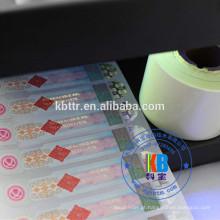fita anti-falsificação da etiqueta pela impressão térmica da transferência da fita da segurança uv