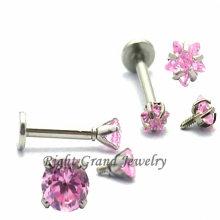 Pink Star Cubic Zircon Internally Threaded Lip Ring Piercing