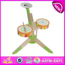 El mejor mini juguete de tambor de madera para los niños, juguetes calientes del tambor de la venta de la novedad para los niños, juguete de madera Toy Drum Toy para el bebé W07j025