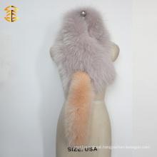 Fashion Fox Fur Tail Scarf Plush Real Raccoon And Fox Fur Scarf with Fox Tails