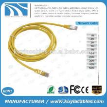 Plugue de cristal amarelo de alta qualidade RJ45 ao cabo do cabo do 1.5Meter do cabo do plugue do cristal RJ45