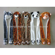 China wholesale wild animal plush hat with long neck warmers
