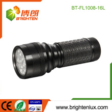 Factory Wholesale Multi-color 3*AAA battery Powered Emergency Handheld Aluminum 16 led Cheap Flashlight with Rubber Grip
