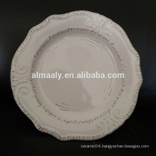 wholesale white embossed plate cutting edge