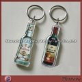 Elegant clear polished bottle-shaped promotional acrylic/lucite key chain/ring/holder with your pict