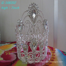 Fashion crystal flower large pageant crowns, full pageant round crowns