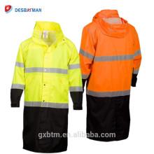 Parka de alta visibilidad de la chaqueta de la lluvia del Workwear de la clase 3 de ANSI, impermeable de Hi Vis 100% encapuchado