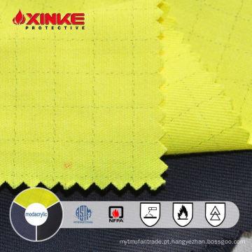 tecido fr modacrílico / algodão antiestático amarelo