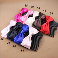 Lady Fashion Satin Bowknot Hairpin Comb Bow (HEAD-107)