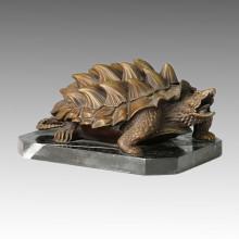 Tier Statue Chelydra / Schnappschildkröte Bronze Skulptur Tpal-071