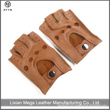 2016 Los nuevos hombres del cuero del dedo de la mano del deerskin hecho a mano del estilo ennegrecen los guantes