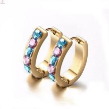 Wholesale Clear Crystal City Gold Filled Hoop Earrings Stud