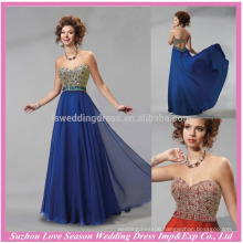 HE10095 2015 long evening gown sweatheart sleeveless elegant floor length beaded blue chiffon floral evening dress