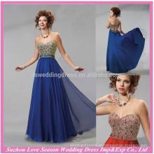 HE10095 2015 longo vestido de noite sweatheart vestido de noiva elegante sem molho de pérolas azul com chiffon azul