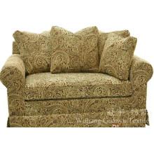 Tissu de daim de polyester de jacquard en cuir avec le dos pour le sofa