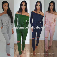 Pure Color Bodycon Sexy Sweat Suit Cintura Alta Fora Do Ombro Mulheres Casuais Jumpsuits
