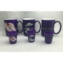 Taza de neón del color 15oz, taza de cerámica del color púrpura