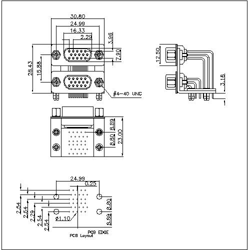 MDDR01-XXXXX D-SUB PCB Dual Port High Density Right Angle Machine Pin